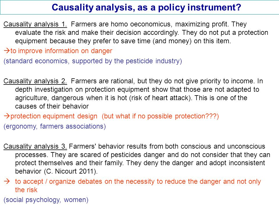 Causality analysis, as a policy instrument. Causality analysis 1.