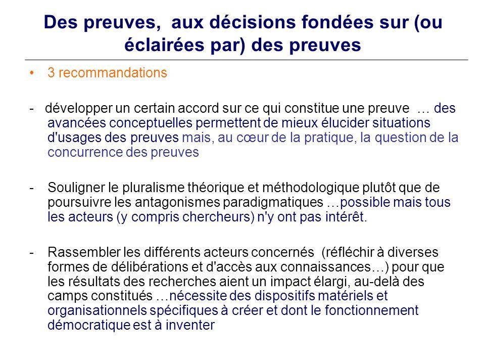 Des preuves, aux décisions fondées sur (ou éclairées par) des preuves 3 recommandations - développer un certain accord sur ce qui constitue une preuve