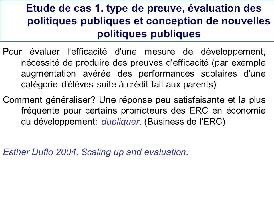 Etude de cas 1. type de preuve, évaluation des politiques publiques et conception de nouvelles politiques publiques Pour évaluer l'efficacité d'une me