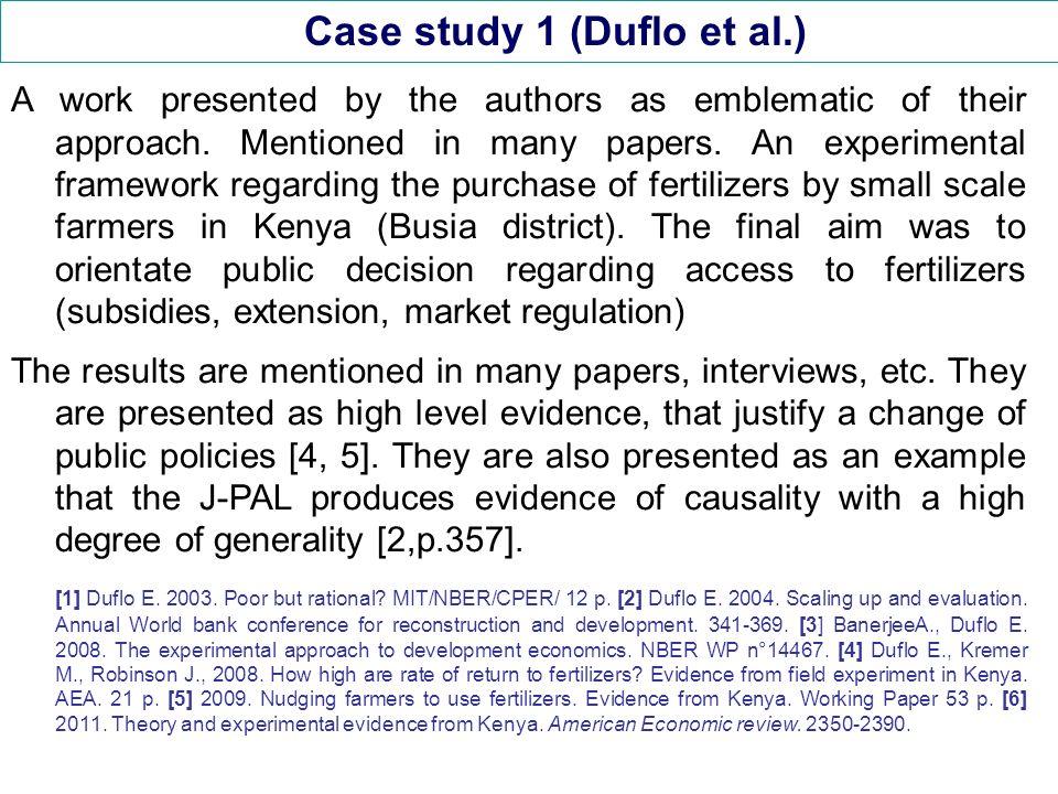 Case study 1 (Duflo et al.) Duflo et al.have worked with NGOs in the Busia district.
