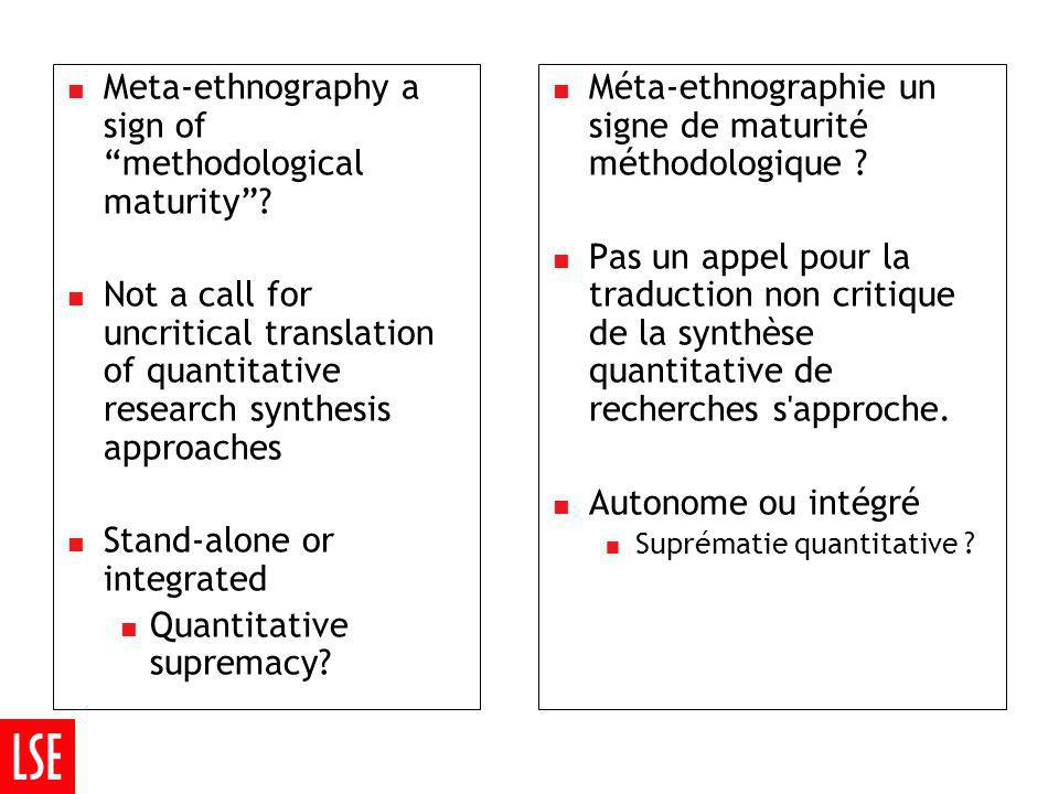 Meta-ethnography a sign of methodological maturity.