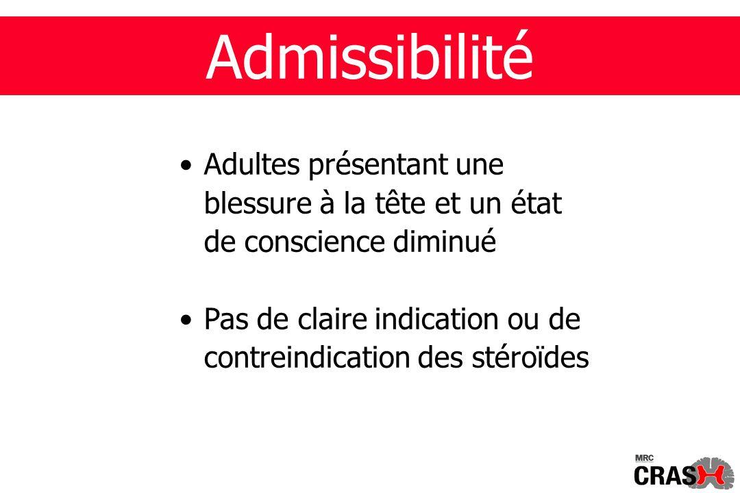 Admissibilité Adultes présentant une blessure à la tête et un état de conscience diminué Pas de claire indication ou de contreindication des stéroïdes