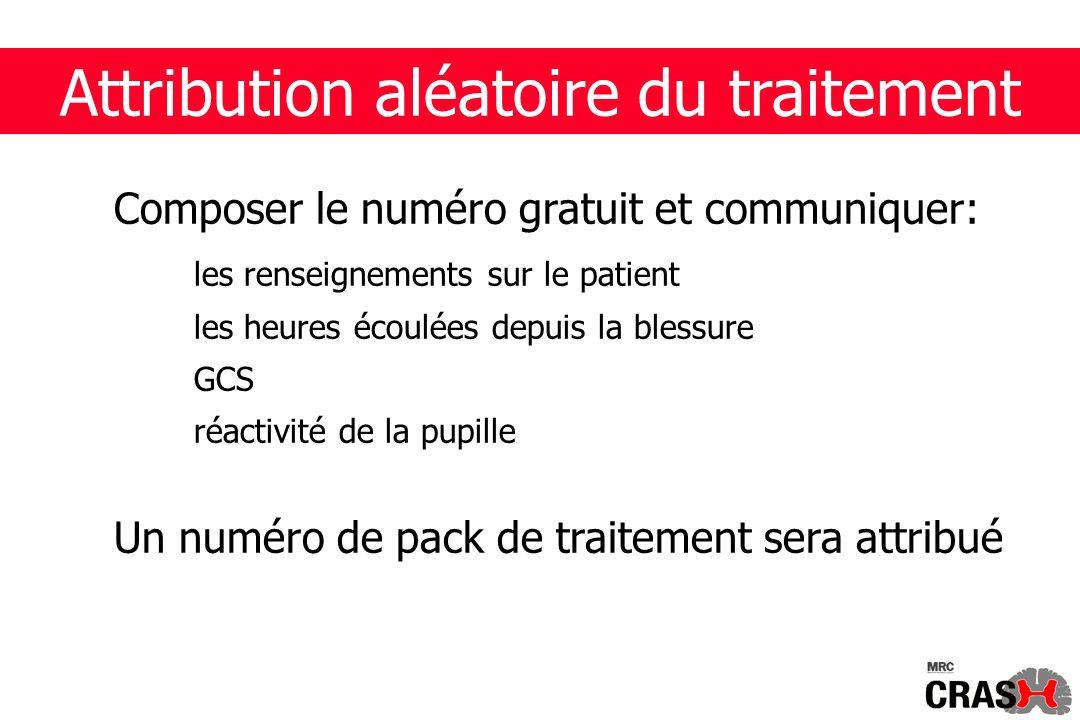 Attribution aléatoire du traitement Composer le numéro gratuit et communiquer: les renseignements sur le patient les heures écoulées depuis la blessure GCS réactivité de la pupille Un numéro de pack de traitement sera attribué