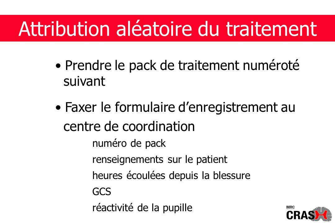 Attribution aléatoire du traitement Prendre le pack de traitement numéroté suivant Faxer le formulaire denregistrement au centre de coordination numéro de pack renseignements sur le patient heures écoulées depuis la blessure GCS réactivité de la pupille