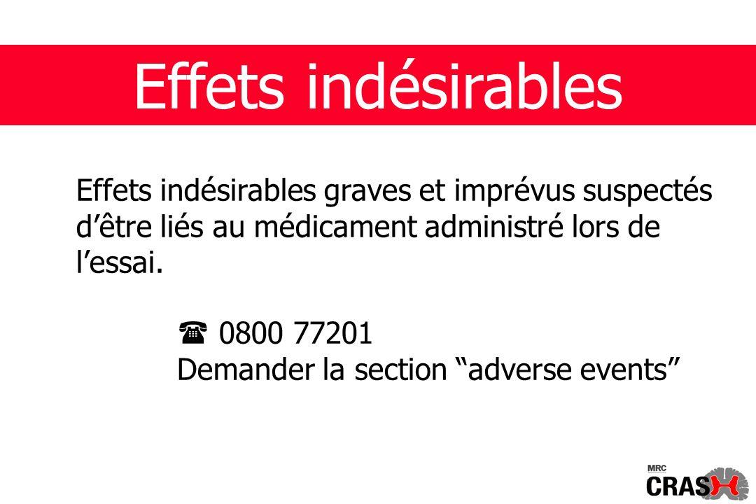 Effets indésirables Effets indésirables graves et imprévus suspectés dêtre liés au médicament administré lors de lessai.