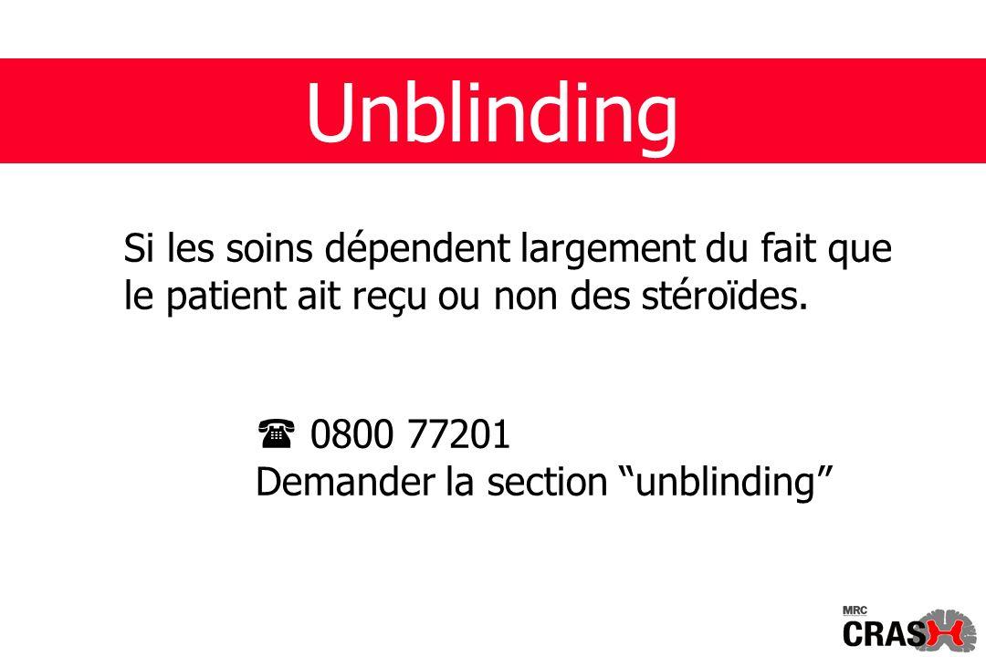 Unblinding Si les soins dépendent largement du fait que le patient ait reçu ou non des stéroïdes.
