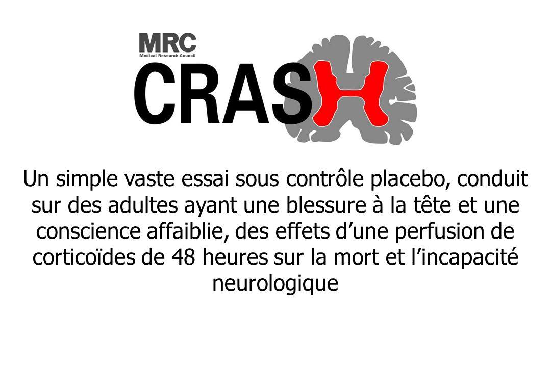 Un simple vaste essai sous contrôle placebo, conduit sur des adultes ayant une blessure à la tête et une conscience affaiblie, des effets dune perfusion de corticoïdes de 48 heures sur la mort et lincapacité neurologique