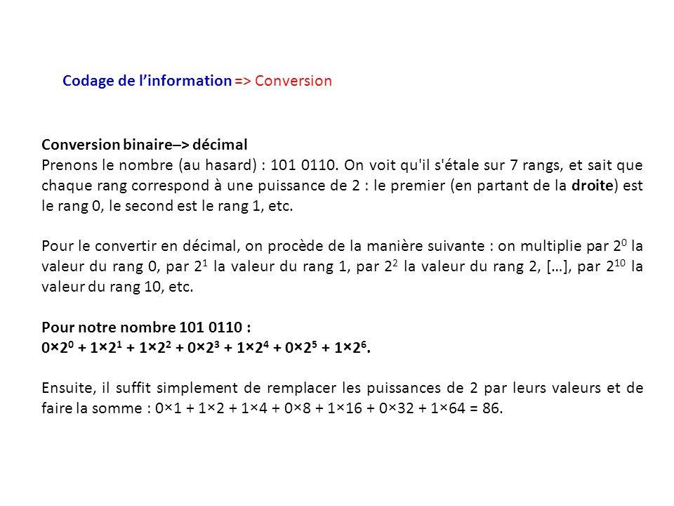 Codage de linformation => Conversion Conversion binaire–> décimal Prenons le nombre (au hasard) : 101 0110. On voit qu'il s'étale sur 7 rangs, et sait