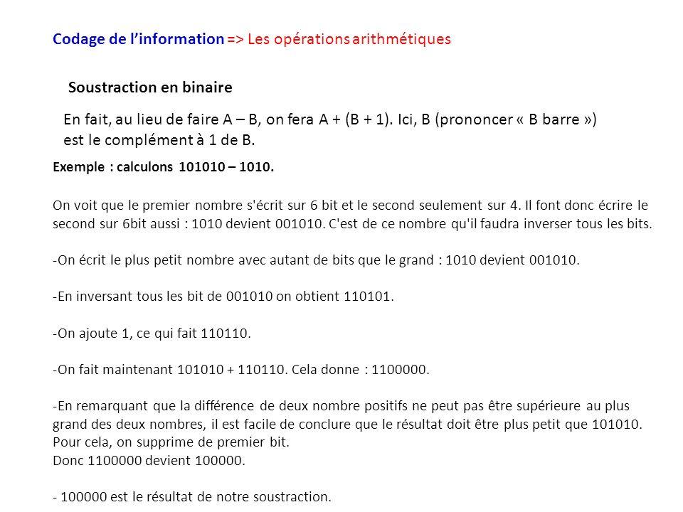 Codage de linformation => Les opérations arithmétiques Soustraction en binaire En fait, au lieu de faire A – B, on fera A + (B + 1). Ici, B (prononcer