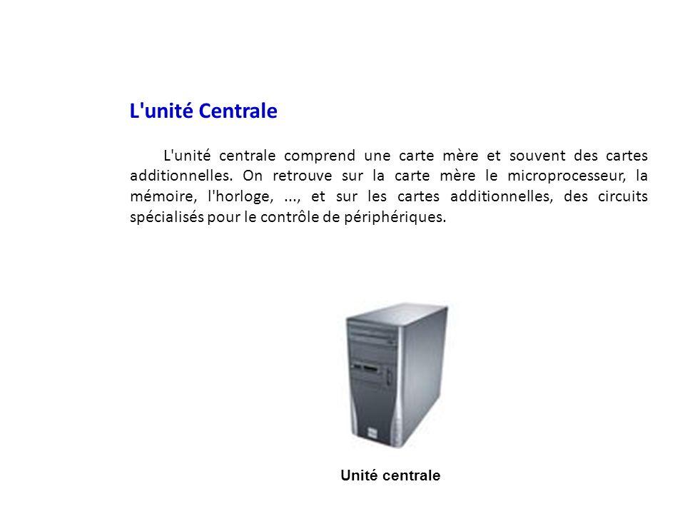 L'unité Centrale L'unité centrale comprend une carte mère et souvent des cartes additionnelles. On retrouve sur la carte mère le microprocesseur, la m