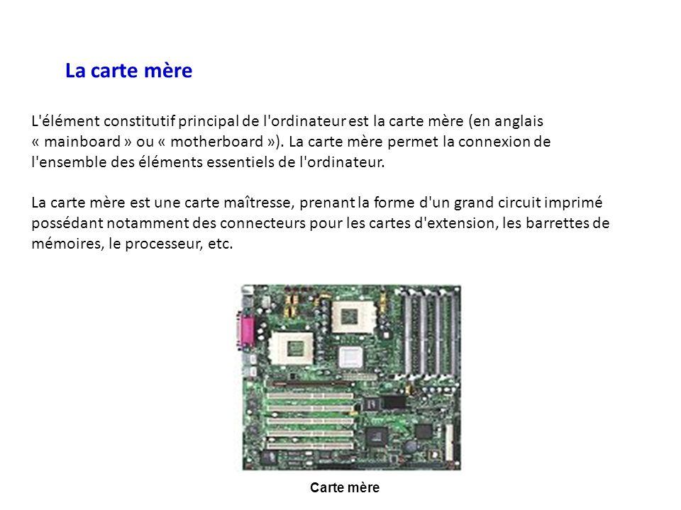 Carte mère La carte mère L'élément constitutif principal de l'ordinateur est la carte mère (en anglais « mainboard » ou « motherboard »). La carte mèr