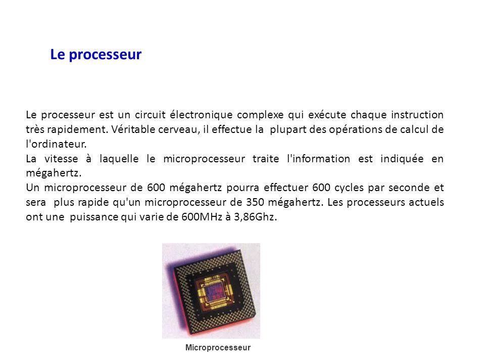 Microprocesseur Le processeur Le processeur est un circuit électronique complexe qui exécute chaque instruction très rapidement. Véritable cerveau, il