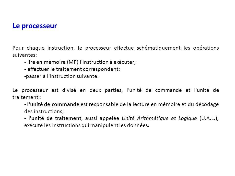 Le processeur Pour chaque instruction, le processeur effectue schématiquement les opérations suivantes : - lire en mémoire (MP) l instruction à exécuter; - effectuer le traitement correspondant; -passer à l instruction suivante.