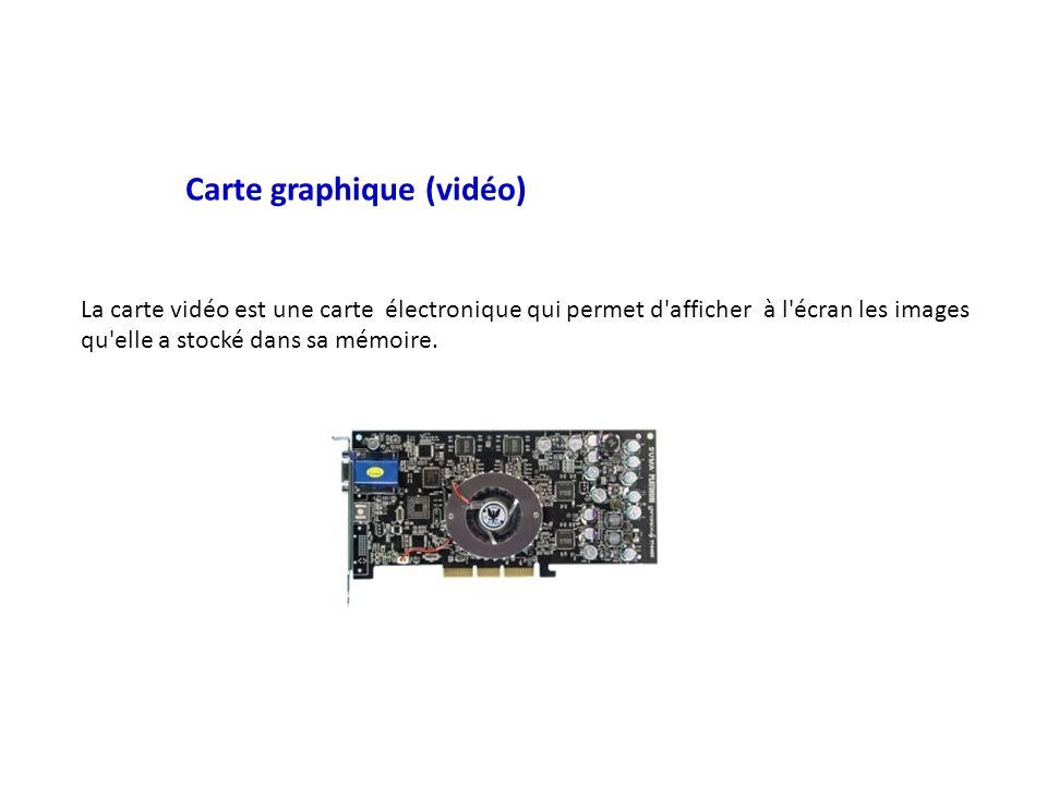 Carte graphique (vidéo) La carte vidéo est une carte électronique qui permet d afficher à l écran les images qu elle a stocké dans sa mémoire.