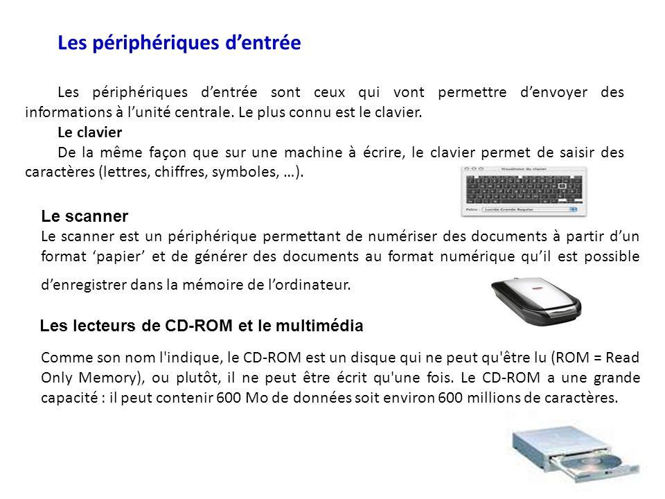 Les périphériques dentrée Les périphériques dentrée sont ceux qui vont permettre denvoyer des informations à lunité centrale.