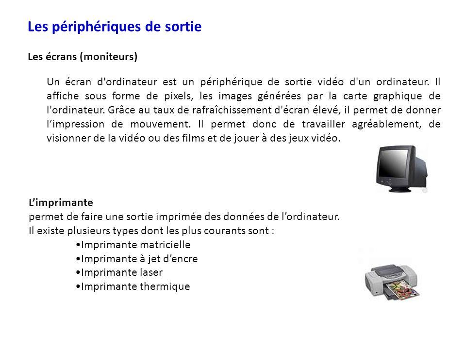 Les périphériques de sortie Les écrans (moniteurs) Un écran d'ordinateur est un périphérique de sortie vidéo d'un ordinateur. Il affiche sous forme de