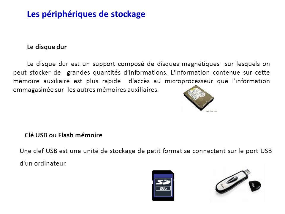 Les périphériques de stockage Le disque dur Le disque dur est un support composé de disques magnétiques sur lesquels on peut stocker de grandes quanti