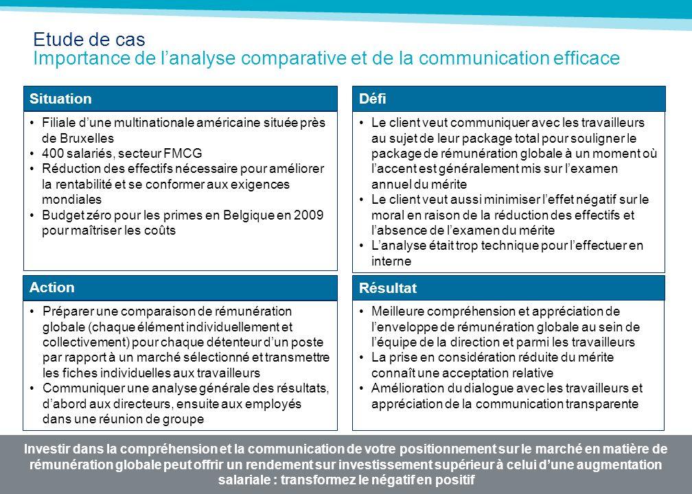 MERCER 05/05/2014 Etude de cas Importance de lanalyse comparative et de la communication efficace Investir dans la compréhension et la communication d