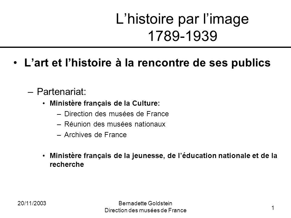1 20/11/2003Bernadette Goldstein Direction des musées de France Lhistoire par limage 1789-1939 Lart et lhistoire à la rencontre de ses publics –Parten