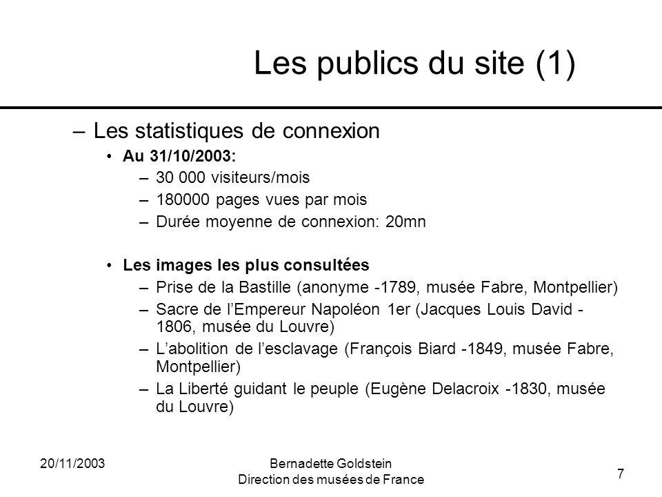 7 20/11/2003Bernadette Goldstein Direction des musées de France Les publics du site (1) –Les statistiques de connexion Au 31/10/2003: –30 000 visiteur