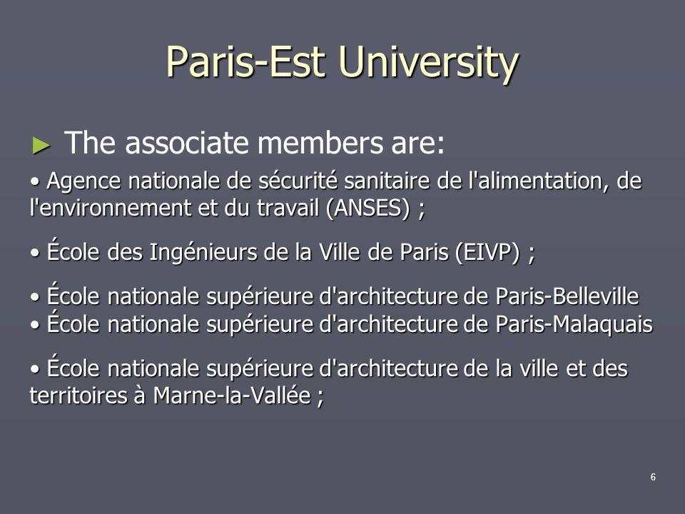 The associate members are: Agence nationale de sécurité sanitaire de l'alimentation, de l'environnement et du travail (ANSES) ; Agence nationale de sé