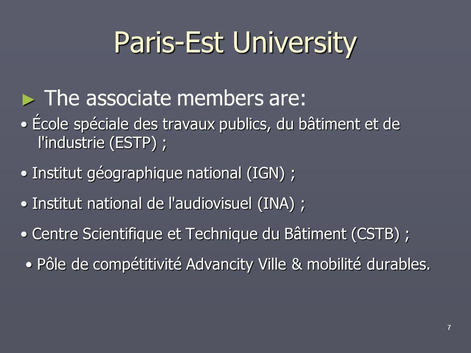 The associate members are: École spéciale des travaux publics, du bâtiment et de l'industrie (ESTP) ; École spéciale des travaux publics, du bâtiment