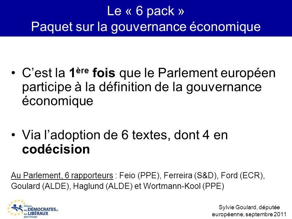 Le « 6 pack » Paquet sur la gouvernance économique Cest la 1 ère fois que le Parlement européen participe à la définition de la gouvernance économique