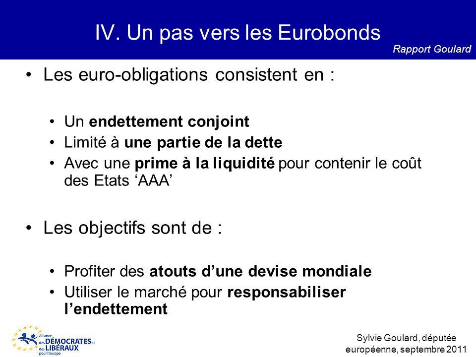 Les euro-obligations consistent en : Un endettement conjoint Limité à une partie de la dette Avec une prime à la liquidité pour contenir le coût des E