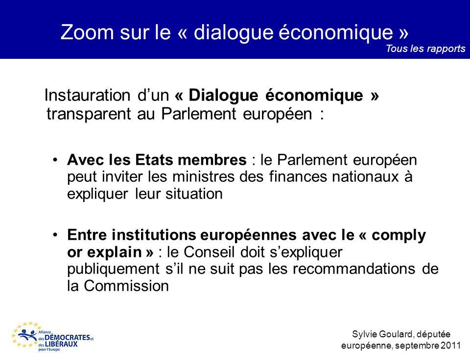 Instauration dun « Dialogue économique » transparent au Parlement européen : Avec les Etats membres : le Parlement européen peut inviter les ministres