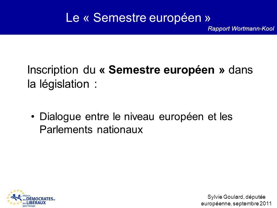 Inscription du « Semestre européen » dans la législation : Dialogue entre le niveau européen et les Parlements nationaux Le « Semestre européen » Sylv