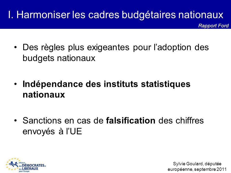 Des règles plus exigeantes pour ladoption des budgets nationaux Indépendance des instituts statistiques nationaux Sanctions en cas de falsification de