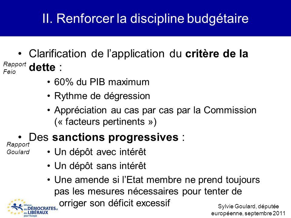 Clarification de lapplication du critère de la dette : 60% du PIB maximum Rythme de dégression Appréciation au cas par cas par la Commission (« facteu