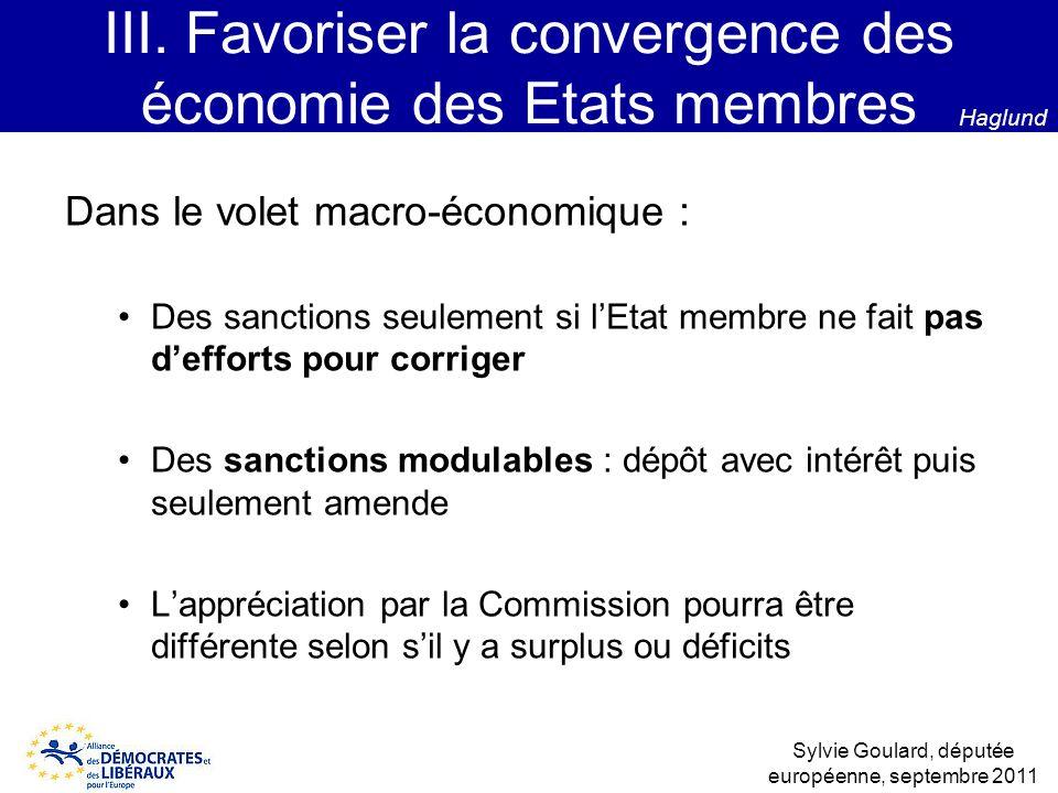Dans le volet macro-économique : Des sanctions seulement si lEtat membre ne fait pas defforts pour corriger Des sanctions modulables : dépôt avec inté