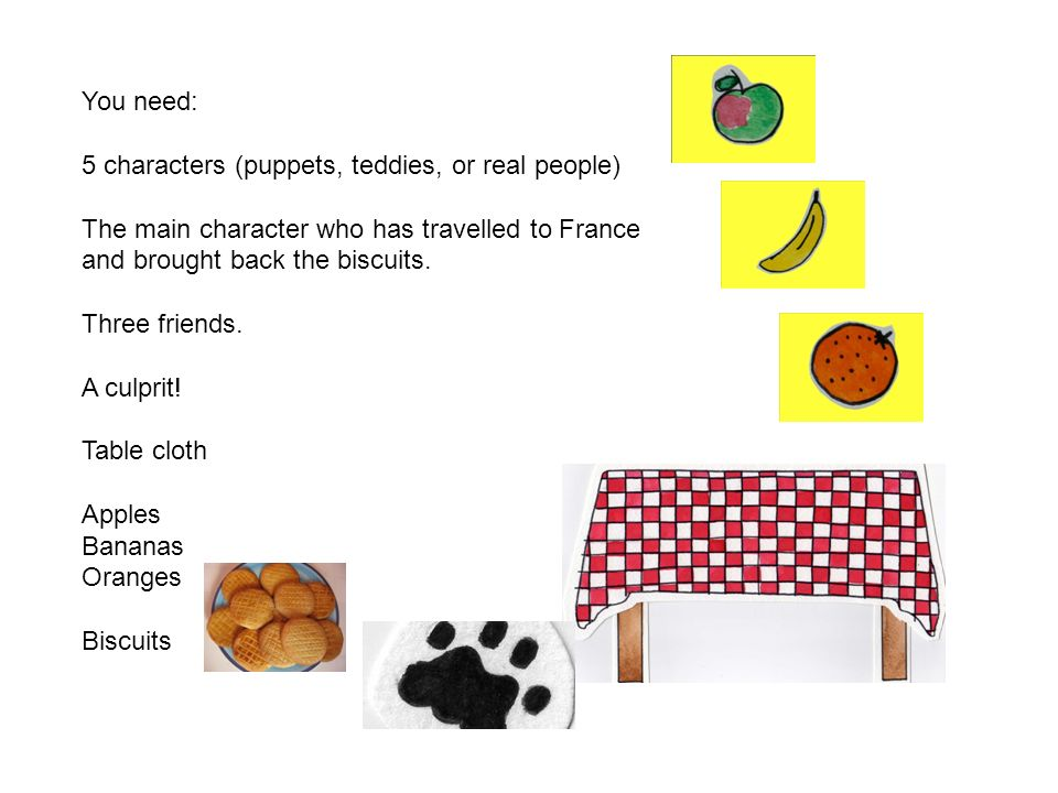 You need: 5 characters (puppets, teddies, or real people) The main character who has travelled to France and brought back the biscuits. Three friends.