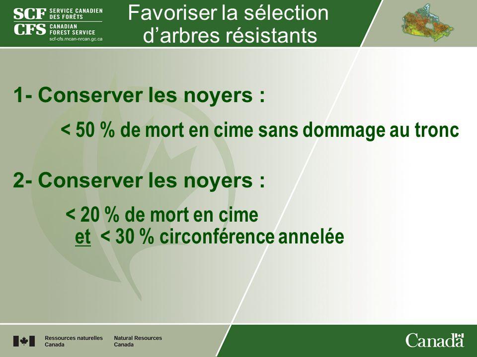 Favoriser la sélection darbres résistants 1- Conserver les noyers : < 50 % de mort en cime sans dommage au tronc 2- Conserver les noyers : < 20 % de m
