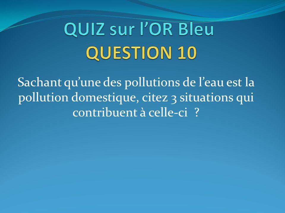 Sachant quune des pollutions de leau est la pollution domestique, citez 3 situations qui contribuent à celle-ci ?