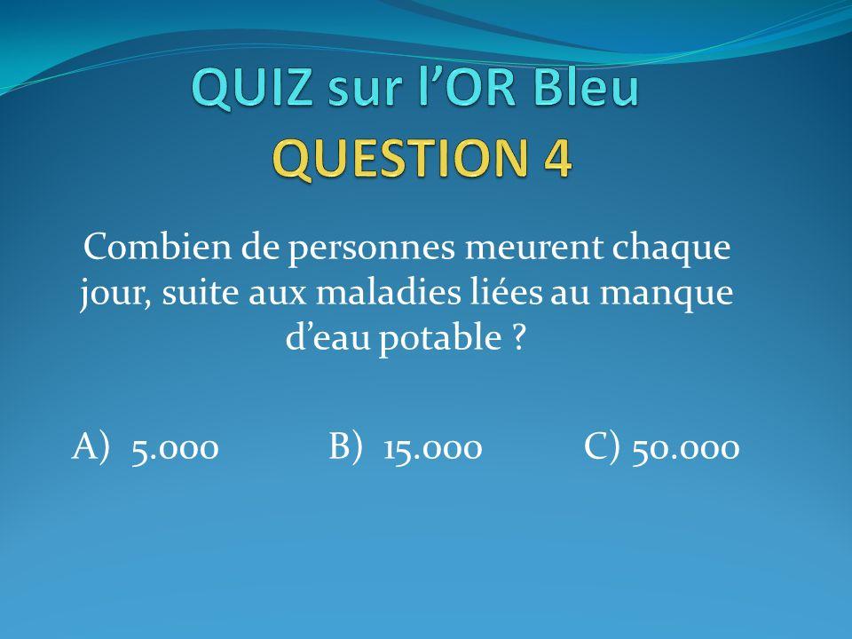 Combien de personnes meurent chaque jour, suite aux maladies liées au manque deau potable ? A) 5.000B) 15.000C) 50.000