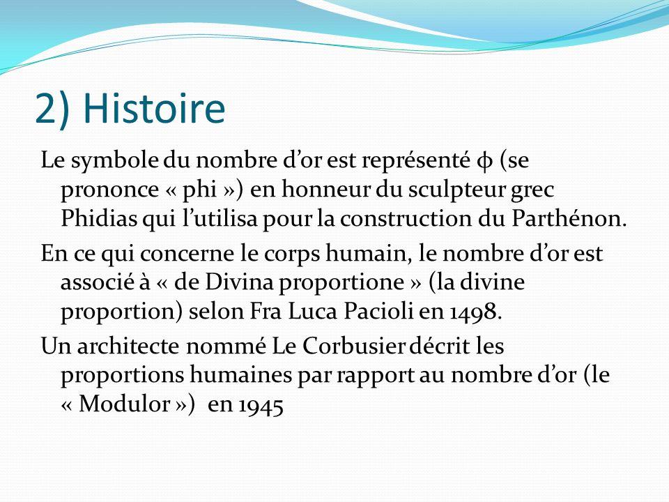 3) Le corps humain Le nombre dor se retrouve chez lhumain: Le corps :