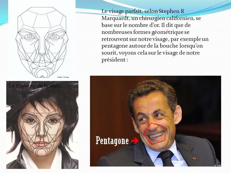 Le visage parfait, selon Stephen R Marquardt, un chirurgien californien, se base sur le nombre dor. Il dit que de nombreuses formes géométrique se ret