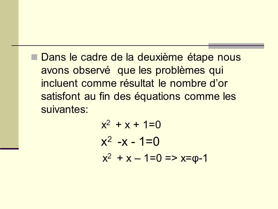 Dans le cadre de la deuxième étape nous avons observé que les problèmes qui incluent comme résultat le nombre dor satisfont au fin des équations comme