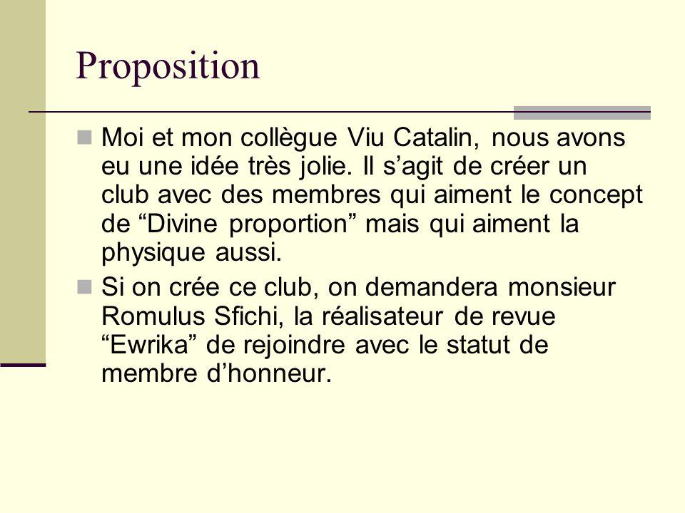 Proposition Moi et mon collègue Viu Catalin, nous avons eu une idée très jolie. Il sagit de créer un club avec des membres qui aiment le concept de Di
