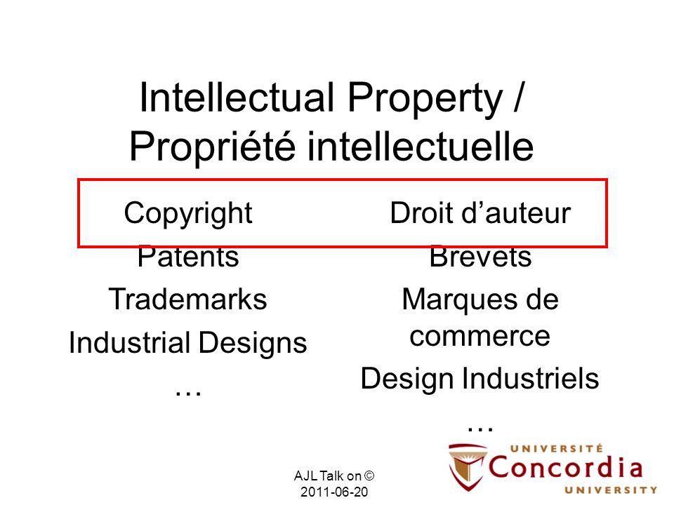 Intellectual Property / Propriété intellectuelle Droit dauteur Brevets Marques de commerce Design Industriels … Copyright Patents Trademarks Industria