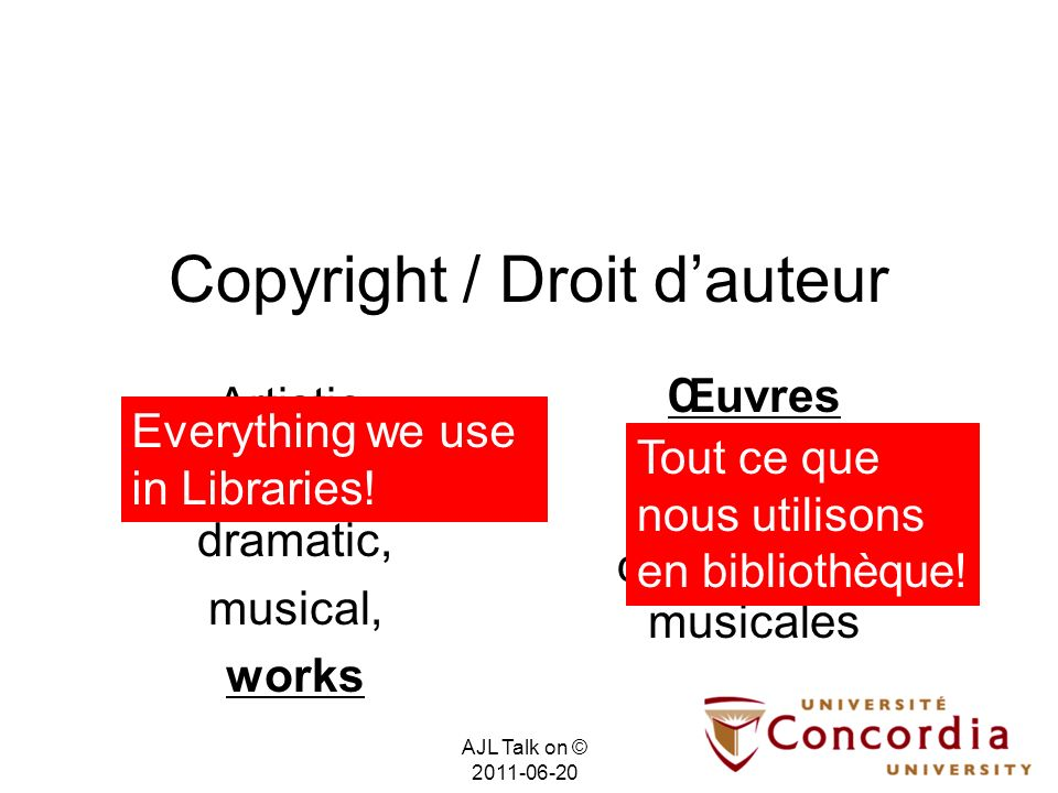(2) Discussion (not so long ago, libraries did not have to worry about copyright) AJL Talk on © 2011-06-20 Pre-digital Pré-numérique