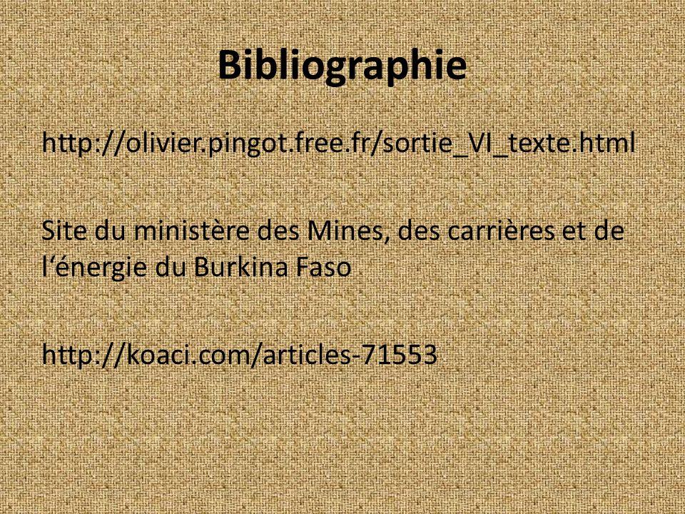 Bibliographie http://olivier.pingot.free.fr/sortie_VI_texte.html Site du ministère des Mines, des carrières et de lénergie du Burkina Faso http://koaci.com/articles-71553