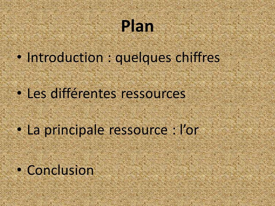 Plan Introduction : quelques chiffres Les différentes ressources La principale ressource : lor Conclusion