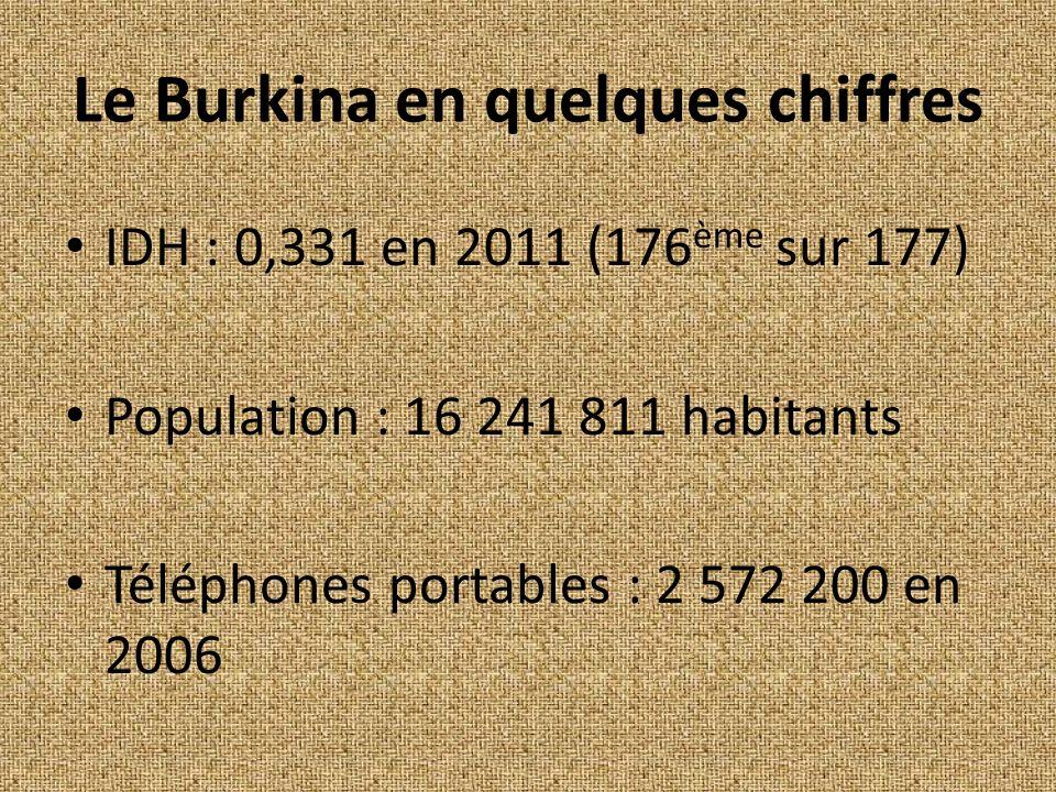 Le Burkina en quelques chiffres IDH : 0,331 en 2011 (176 ème sur 177) Population : 16 241 811 habitants Téléphones portables : 2 572 200 en 2006