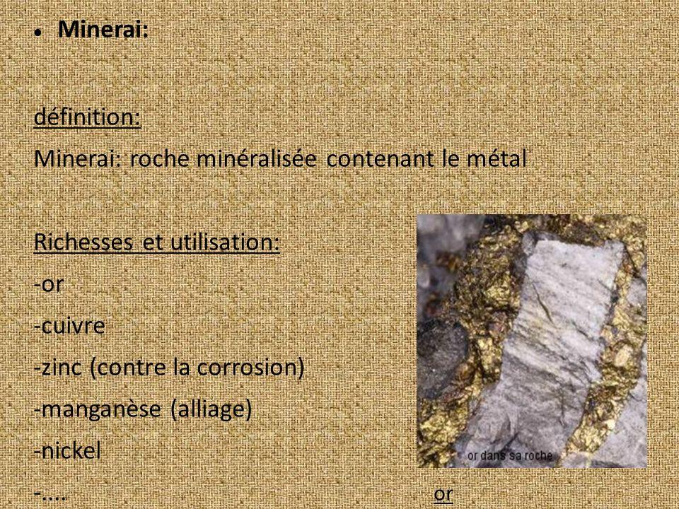 Minerai: définition: Minerai: roche minéralisée contenant le métal Richesses et utilisation: -or -cuivre -zinc (contre la corrosion) -manganèse (alliage) -nickel -....