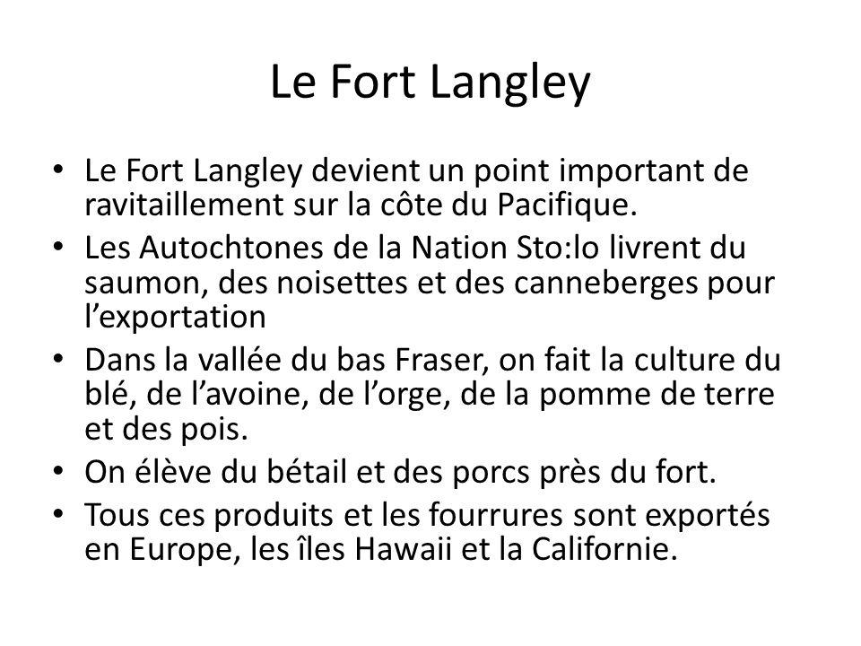 Le Fort Langley Le Fort Langley devient un point important de ravitaillement sur la côte du Pacifique. Les Autochtones de la Nation Sto:lo livrent du