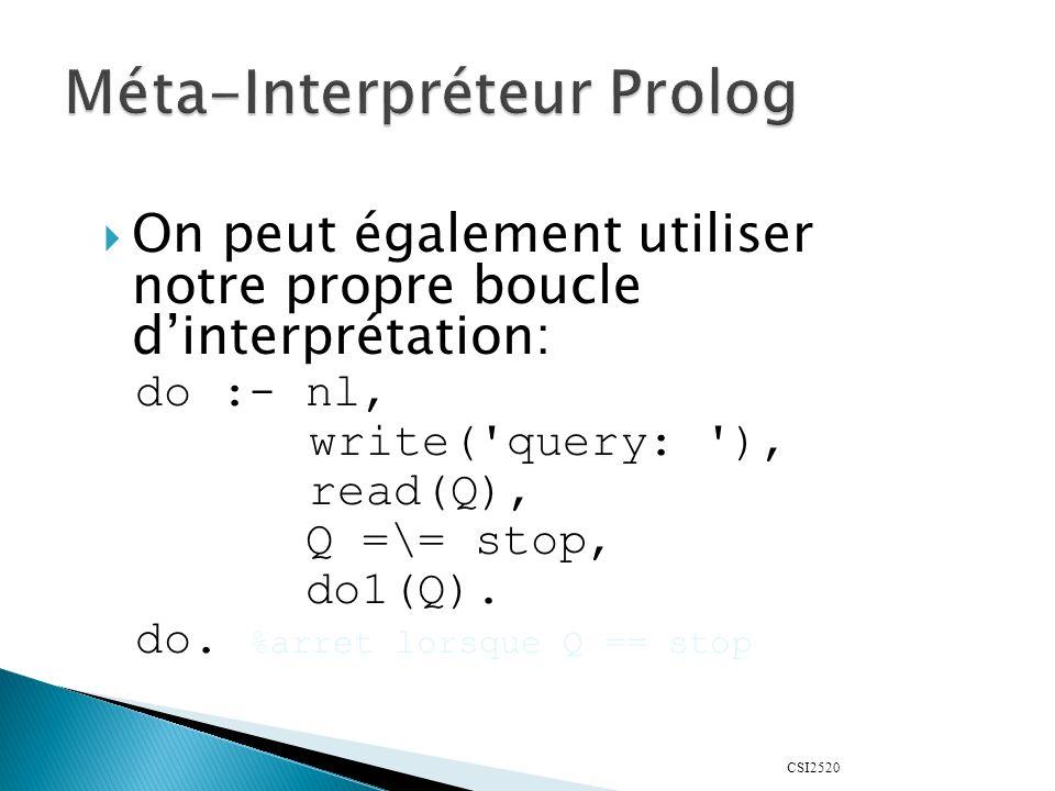 CSI2520 On peut également utiliser notre propre boucle dinterprétation: do :- nl, write( query: ), read(Q), Q =\= stop, do1(Q).