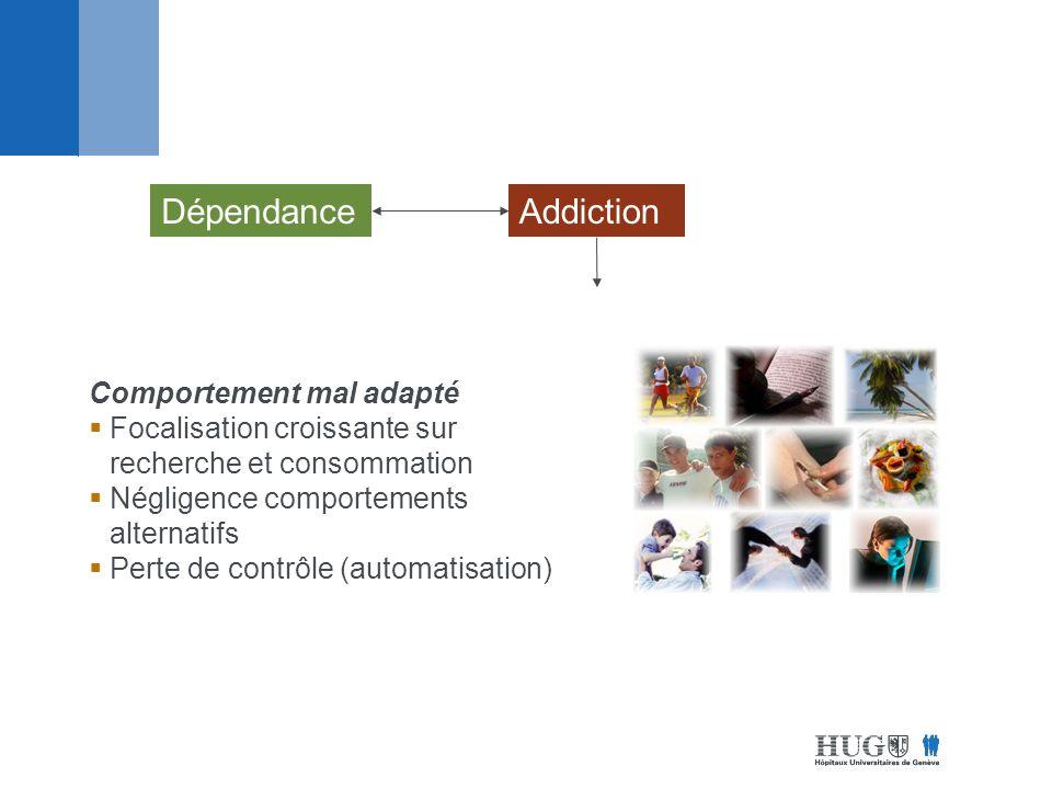 DépendanceAddiction Comportement mal adapté Focalisation croissante sur recherche et consommation Négligence comportements alternatifs Perte de contrôle (automatisation)